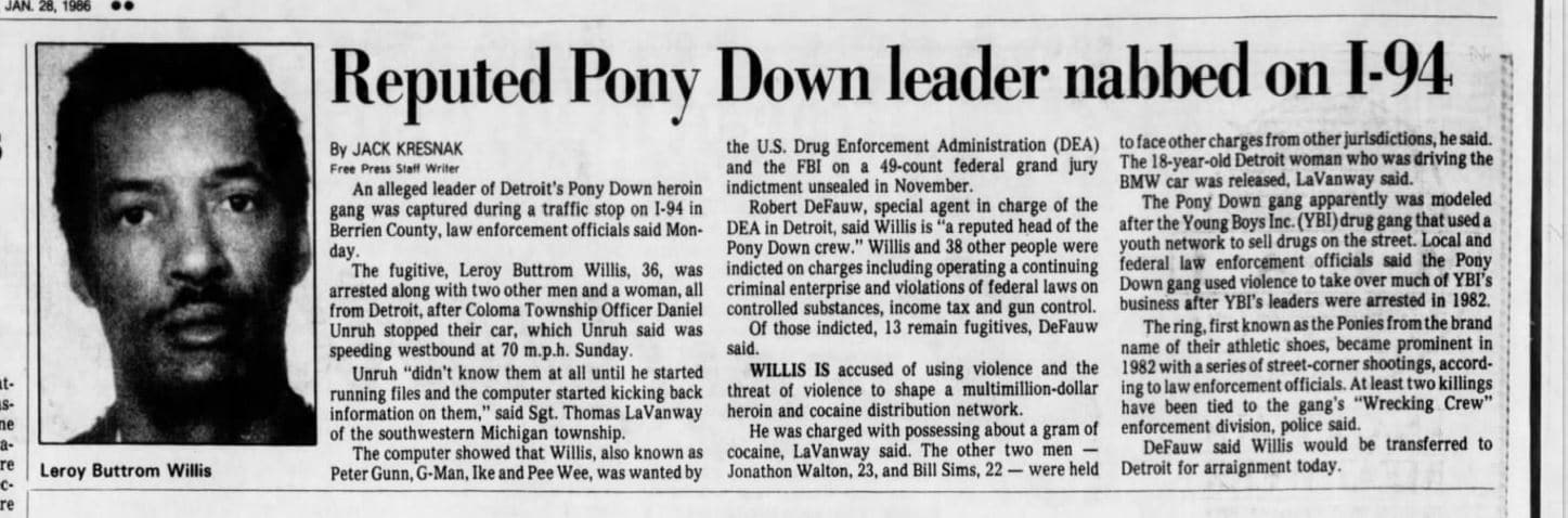 Reputed Pony Down leader nabbed on I-94