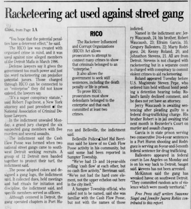 Racketeering act used against street gang